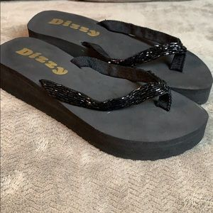 Dizzy Black Beaded Flip Flops 🖤